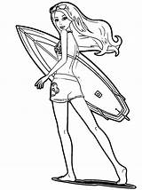 Coloring Pages Surf Barbie Sheet Surfing Surfboard Surfer Printable Board Popular Clipartmag Coloringhome sketch template