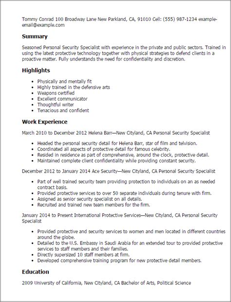 professional personnel security specialist templates to
