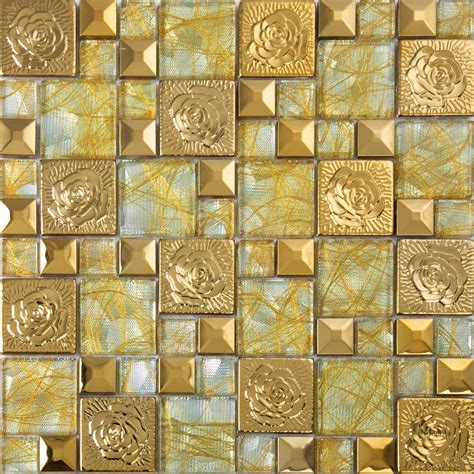 porcelain ceramic tile gold 304 stainless steel flower patterns mosaic glass wall