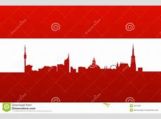 Austria Flag With Vienna Silhouette Stock Vector