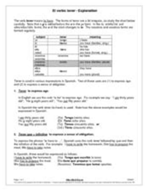 El Verbo Tenerexplanation 6th  8th Grade Worksheet
