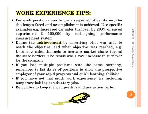 How To Describe Your Work Experience On A Resume by Steps For Applications By Dr Shadia Yousef Banjar Pptx