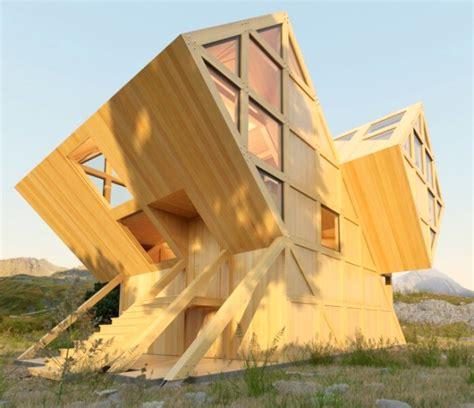 bureau vall cherbourg geometrijska drvena koliba inspirisana dolomitima
