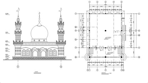 mosque drawings cad files dwg files plans  details