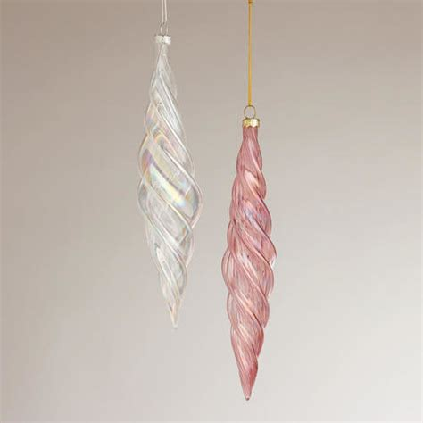 optic glass icicle ornaments contemporary christmas
