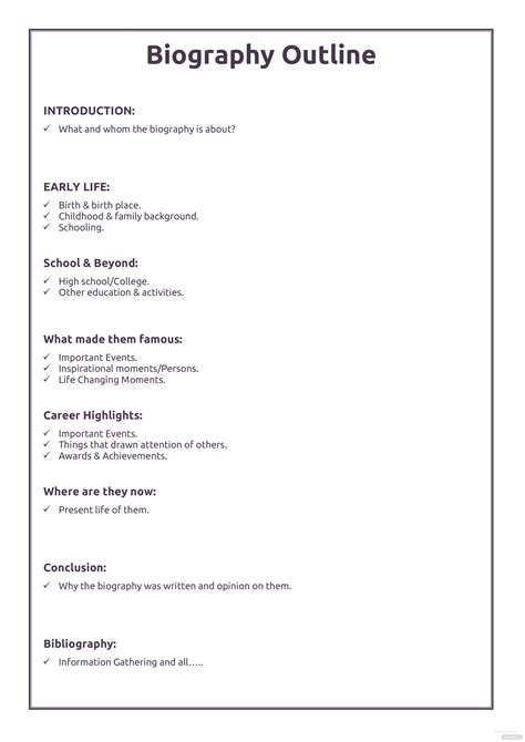professional biography outline template  microsoft word