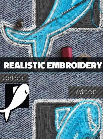 Photoshop Embroidery Effect Actions Sewing Realistic Stitch