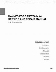 Haynes Ford Fiesta Mk4 Service And Repair Manual