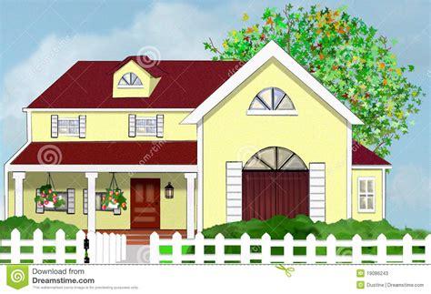 chambre an馗ho ue chambre à la maison jaune avec l 39 arbre et la frontière de sécurité de piquet blanche photos stock image 19086243