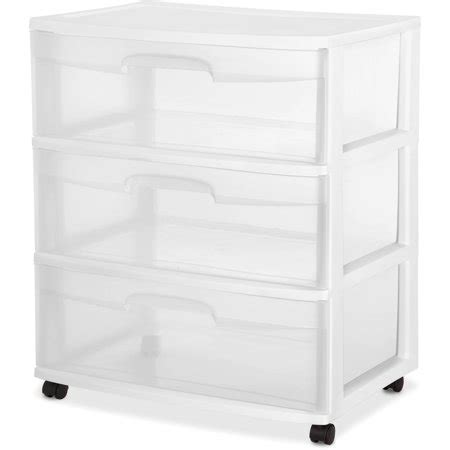 sterilite 3 drawer cart sterilite 3 drawer wide cart white walmart