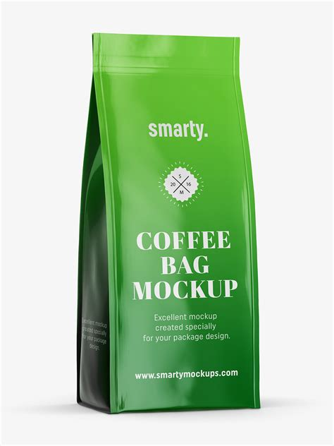 World's best curated collection of mockups for designers. Glossy coffee bag mockup - Smarty Mockups