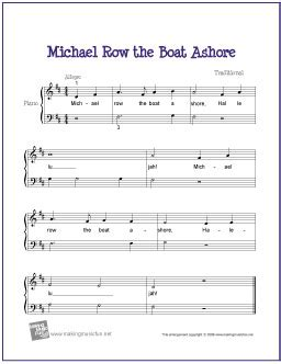 Row The Boat Ashore Piano by Michael Row The Boat Ashore Free Easy Piano Sheet
