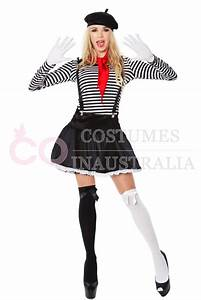 Ladies Mesmerizing Mime Costume French Artist Clown Circus ...