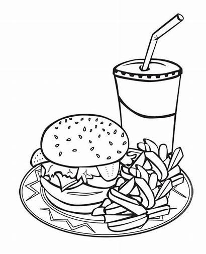Coloring Pages Printable Drink Sheets Burger Junk