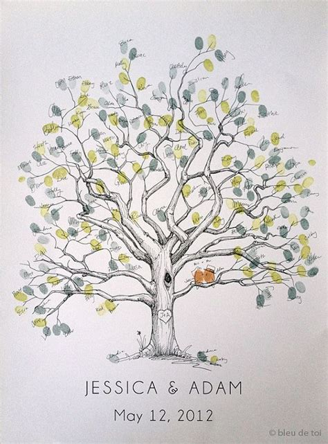 fingerprint tree wedding guest book alternative original large twisted oak design