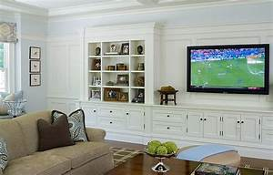 Built in cabinets transitional living room alisberg for Built in wall cabinets living room