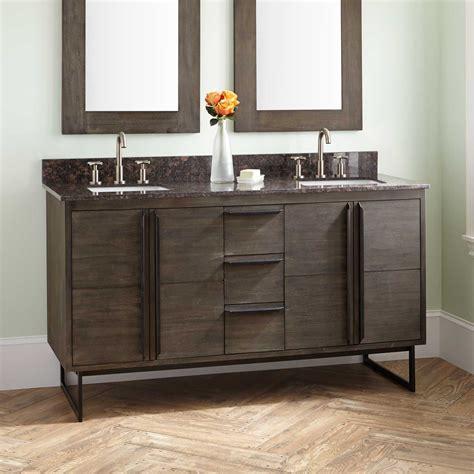 cael teak double vanity  rectangular undermount
