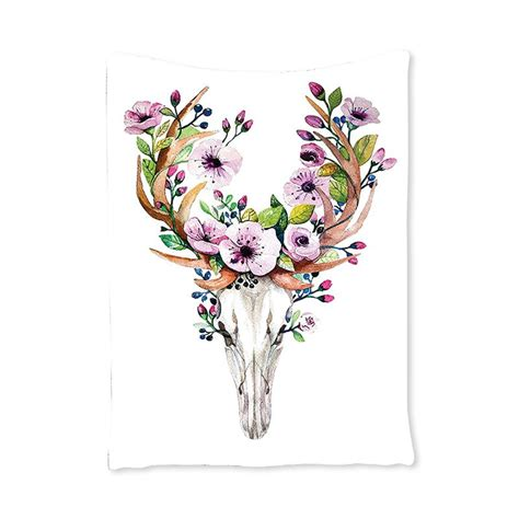 Deer Animal Skull With Floral Horns Nature Inspired Dead