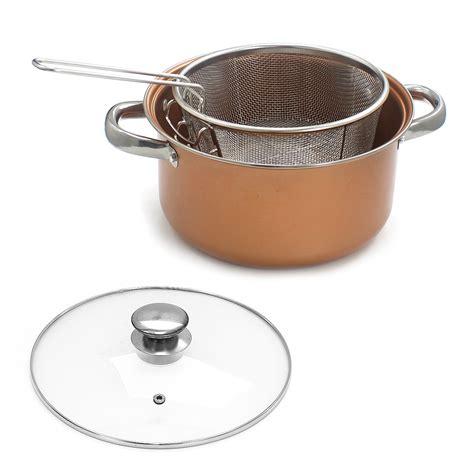 stove top chip pan deep fat fry    fryer stew frying basket glass lid bake ebay