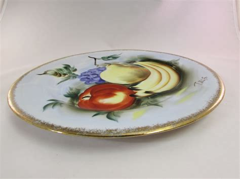 norleans hand painted fruit plate pears apples bananas