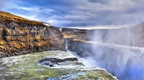 Gullfoss Waterfall Backgrounds by Water Iceland Gullfoss Falling Wallpaper 1920x1080