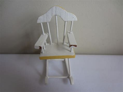 Ebay Rocking Chair Nursery by Vintage Dollhouse Miniature Painted White Yellow Wood