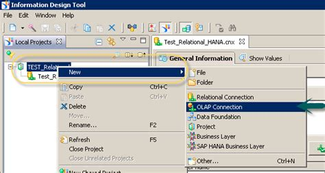 sap hana bi development creating an olap connection