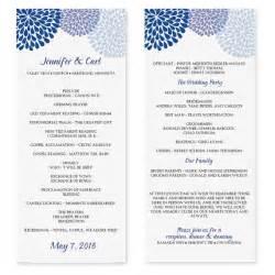 tea length wedding programs templates free wedding program template chrysanthemum blue tea length
