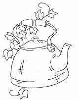 Tea Kettle Coloring Pages Patterns Embroidery Teapot Flickr Pot Wb Early Motifs American Bordado Em Pattern Teapots Pintura Bordados Applique sketch template