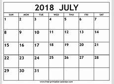 July 2018 Calendar Template calendar month printable