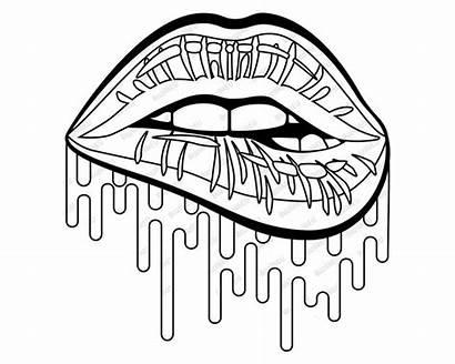 Lips Svg Dripping Lip Biting Weed Cheetah