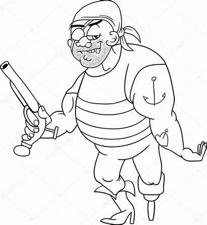 Leg Peg Coloring Pirate Pages Funny Cartoon