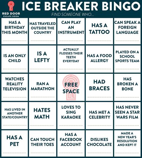 icebreaker bingo template welcome door
