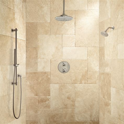 Pictures Of Bathroom Accessories Bisset Thermostatic Shower System Dual Shower Heads And Hand Shower Bathroom