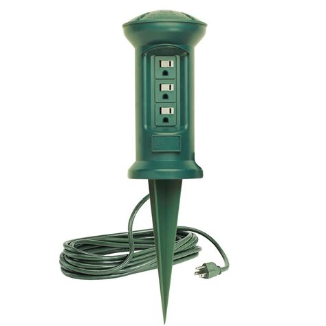 outdoor light with outlet 3 outlet swivel outdoor power stake string light