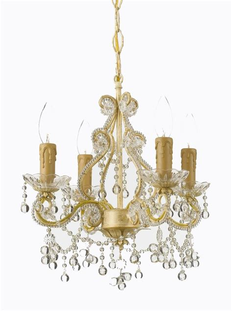 chagne wrought iron small chandelier with clear murano