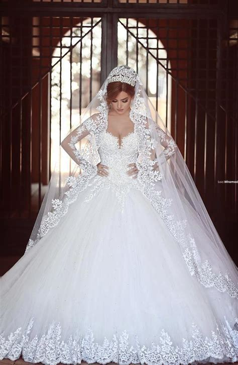 cathedral train arabic lace wedding dresses sheer long