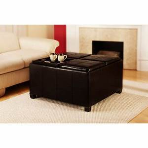 Designs4Comfort Faux Leather Cocktail Storage Ottoman With