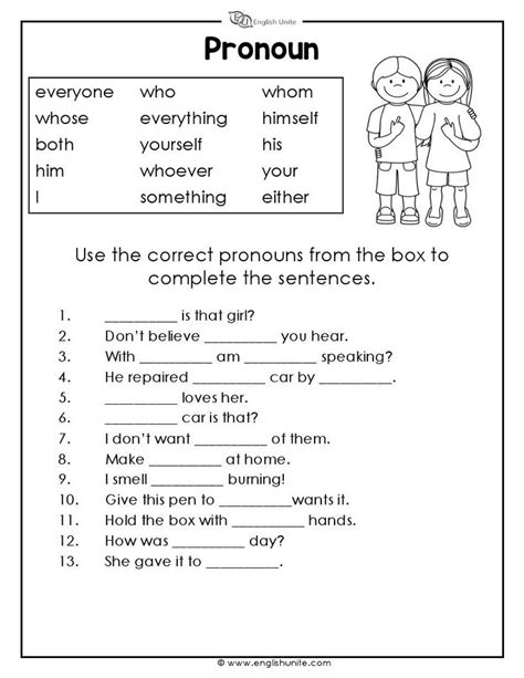 pronouns worksheet  grammar worksheets pronoun
