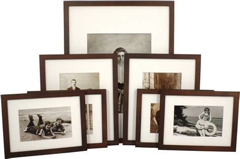 picture frame gallery set set of 7 walnut matted gallery picture frames 4184
