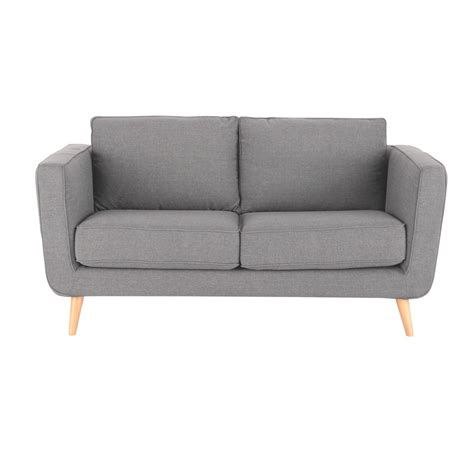 canap en tissu gris canapé 2 3 places en tissu gris clair nils maisons du monde