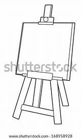 Easel Cavalletto Coloring Coloriage Schildersezel Shutterstock Children Descritta Gestell Nero Chevalet Illustrazione Boek Famiglia Pollo Altes Haas Wortel Weinig Carota sketch template