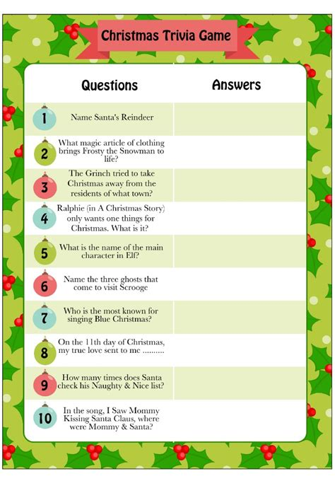 Printable Christmas Trivia Game  Moms & Munchkins