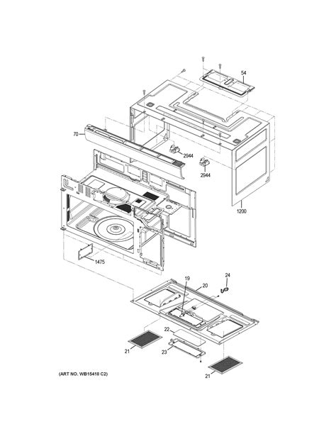 assembly view  oven cavity parts jnmrjss