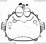 Drunk Blowfish Coloring Cartoon Chubby Clipart Outlined Vector Cory Thoman Regarding Notes sketch template
