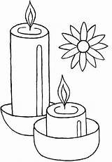 Diwali Coloring Candles Light Celebrate Netart Print sketch template