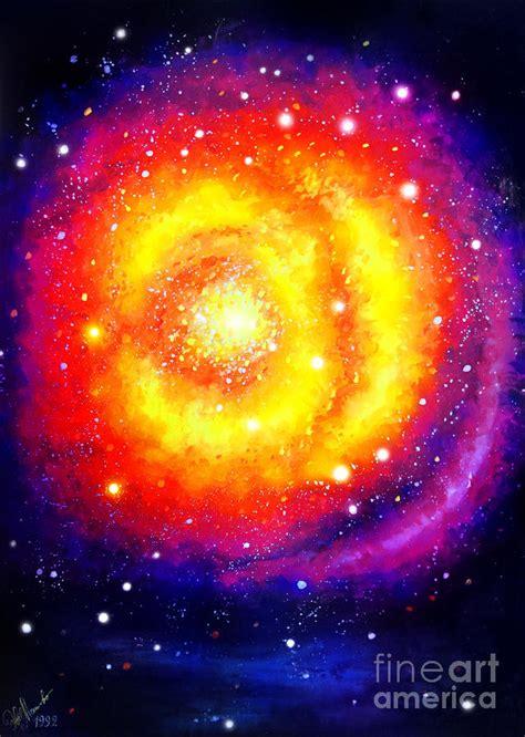 Big Yellow Galaxy Beautiful Universe Painting By Sofia