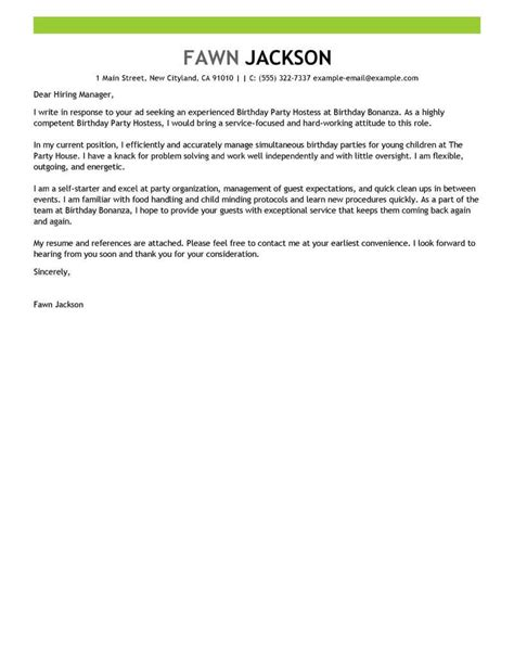 amazing birthday party host cover letter examples