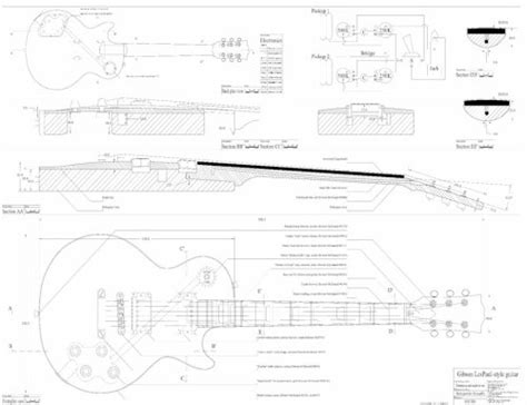 Set Of 3 Gibson Electric Guitar Plans Es 335 Cs 356