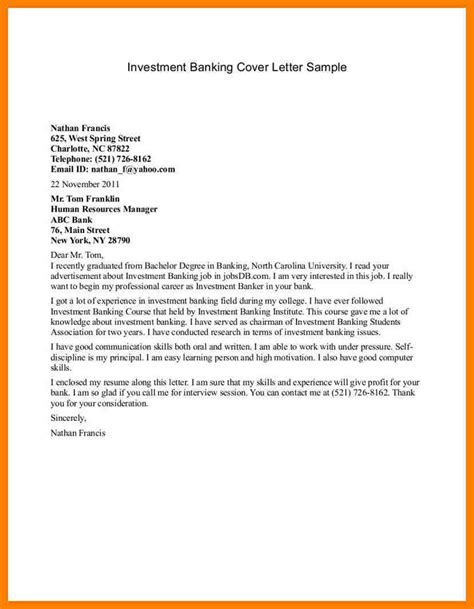 bank job application letter investment banking cover